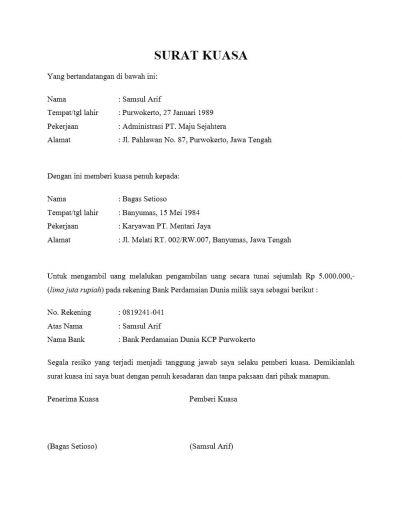 Contoh Surat Kuasa Lengkap Surat Kuasa Pengambilan Bpkb